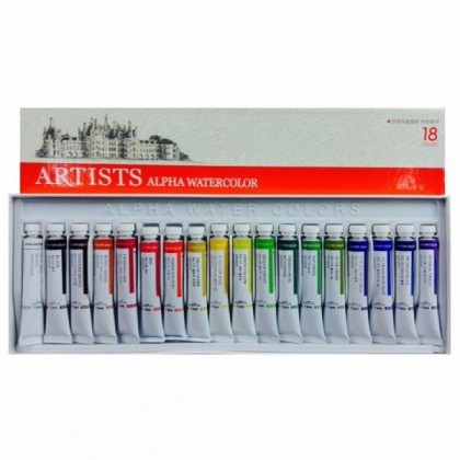 ALPHA ARTISTS' WATER COLORS 7.5cc TUBE SET