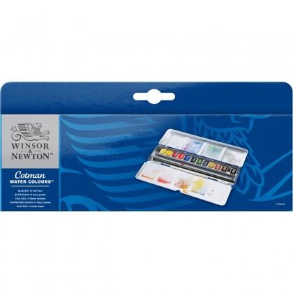 W&N COTMAN WATER COLORS METAL BLUE BOX 12 HALF PANS